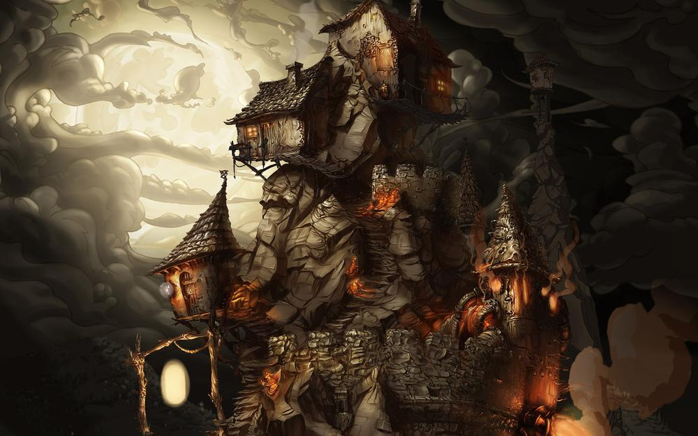 Smoke, the whispered world, explanatory world, dwelling witch, stone wall, game, full moon, night, on mount, shackles