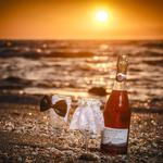 Cheers, wedding, sand, oyster, sunset, sunlight, bride and groom, bubbly, rocks, oysters, cups, sea, bride, sea, sun, beach, groom, champagne