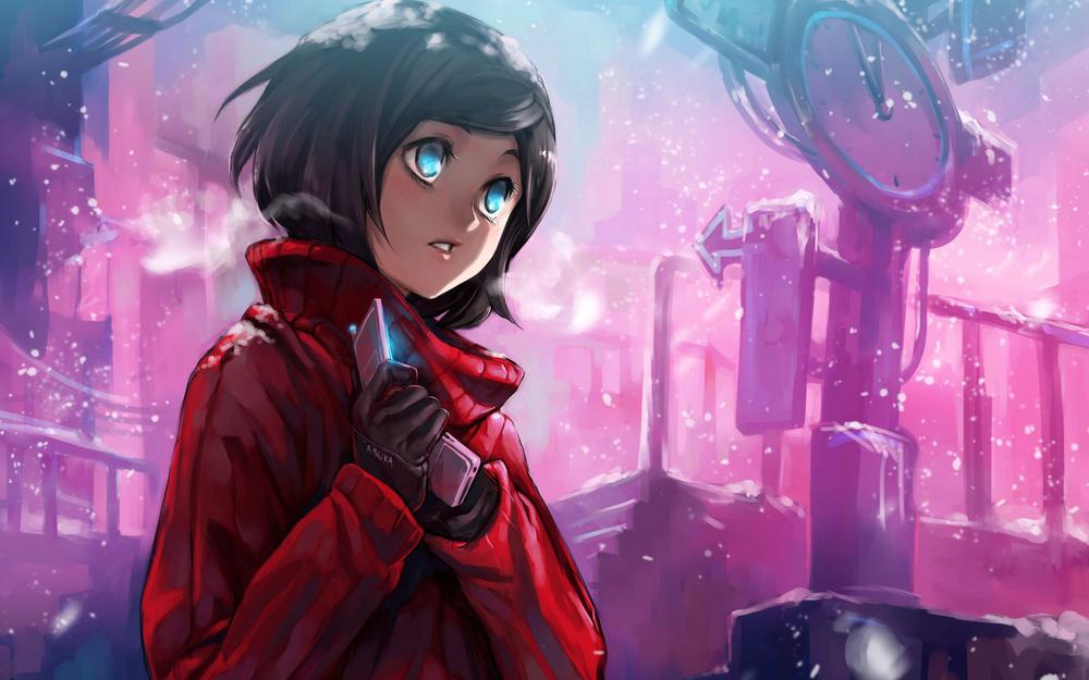 Intersection, cold, winter, girl, phone, snow, street wallpaper