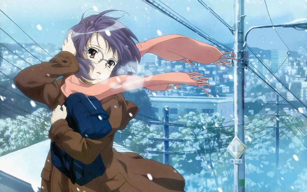 Scarf, girl, wind, cold
