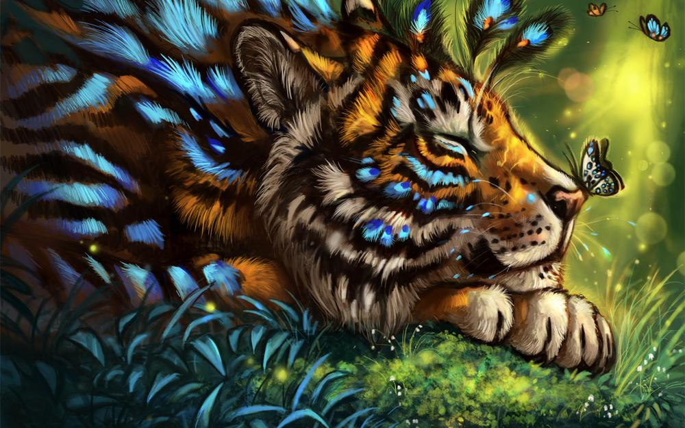 Tiger, butterfly, art, muzzle, dream