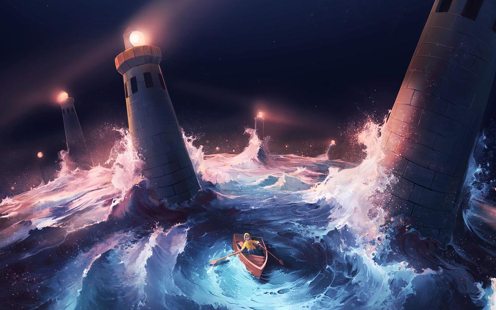 Storm, boat, lighthouses, sea