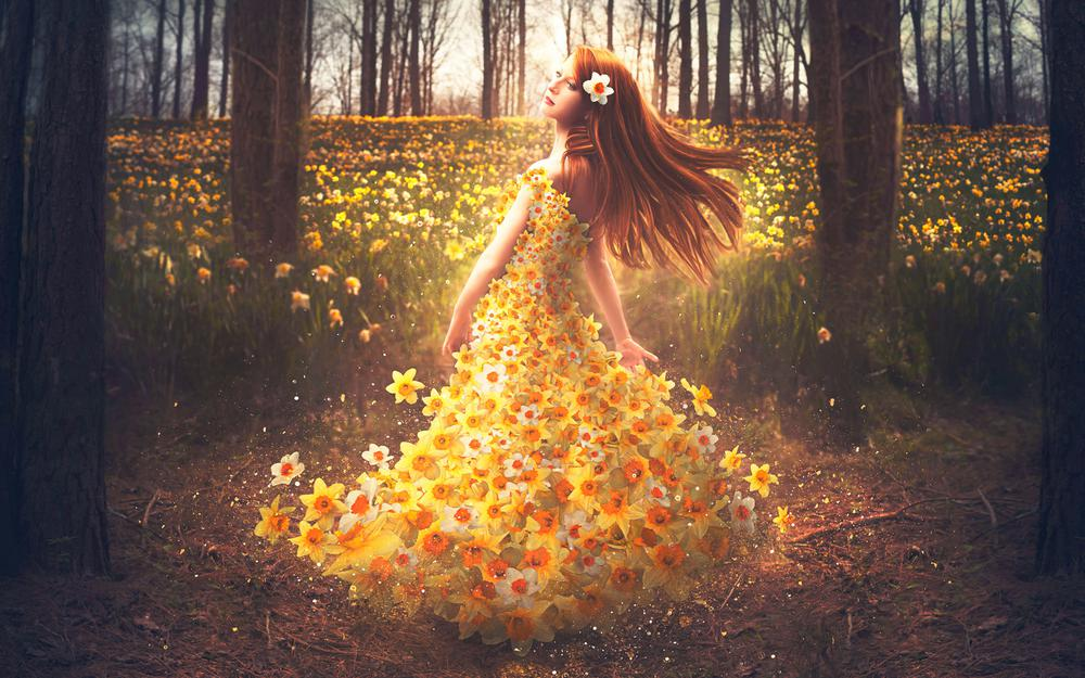 Forest, girl, flowers, daffodils, flower sea, look beautiful and beautiful