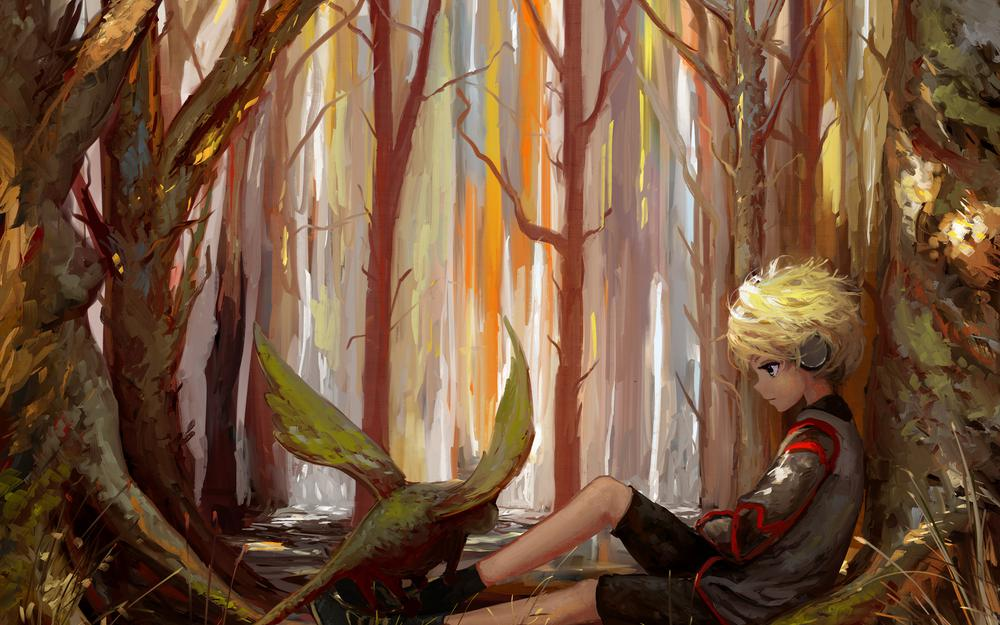 Loneliness, forest, art, child