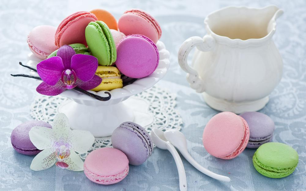 Multicolored, macaron, dessert, makarun, spoons, cookies, pink, assorted, dishes, anna verdina, orchid, white, jug