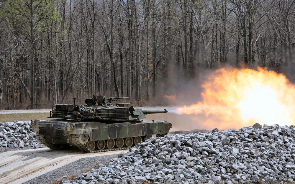 Usa, stones, volley, abrams, m1a1, trees, tank