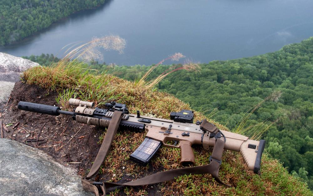 Silencer, fnh scar, nature, rifle, storm, weapon