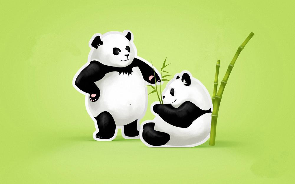 Pandas, green background, couple, leaves, bamboo