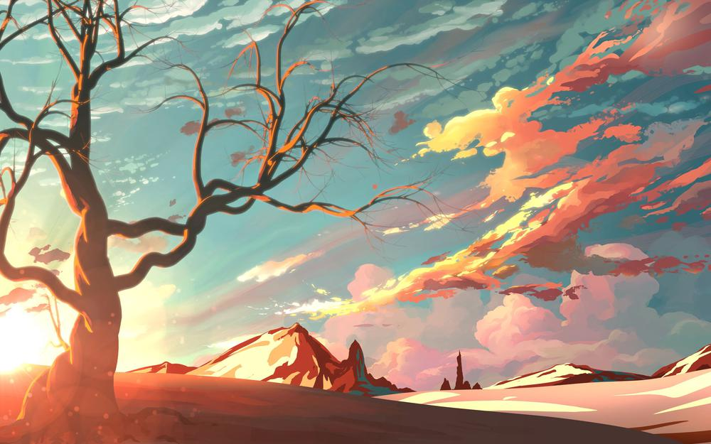 Branches, art, mountains, tree