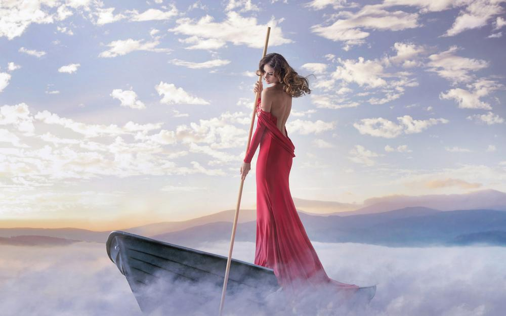 Girl, boat, red dress, wooden pole, river, sky, artistic conception, beautiful wallpaper