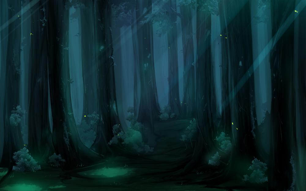 Forest, trees, drawing, darkness