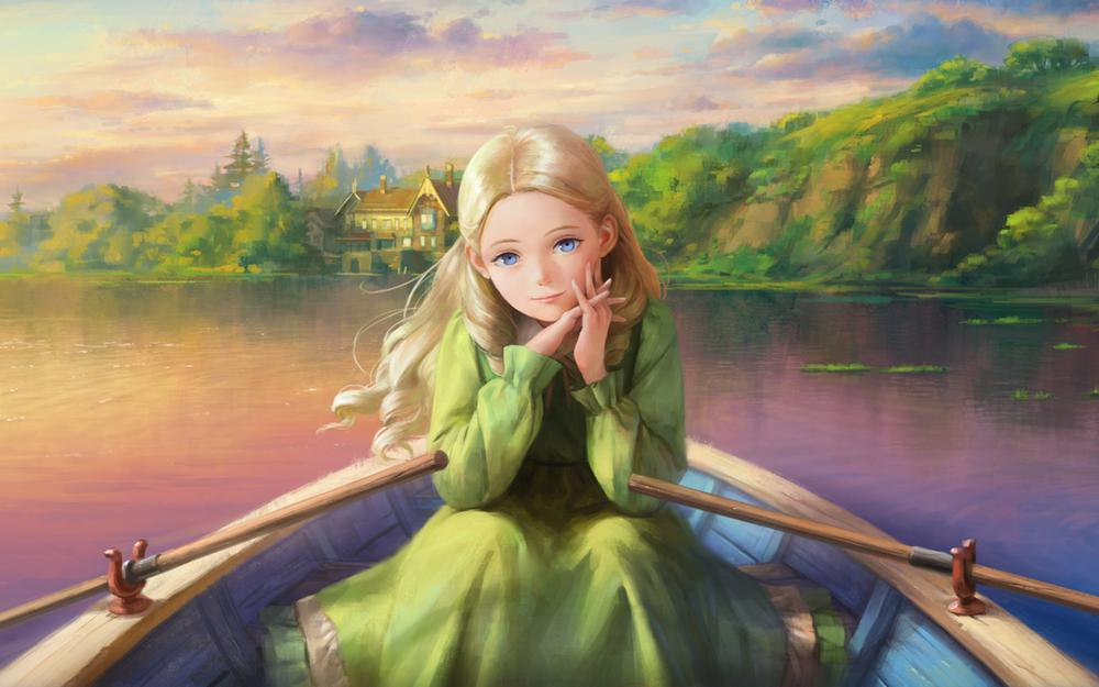 Girl, boat, river, forest, house, beautiful artistic conception, desktop wallpaper