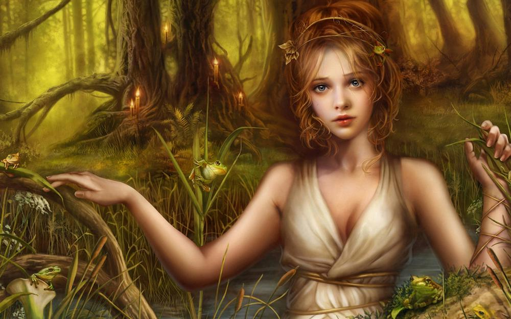 Forest, tree, candlelight, pond, frog, girl, girl, beautiful wallpaper