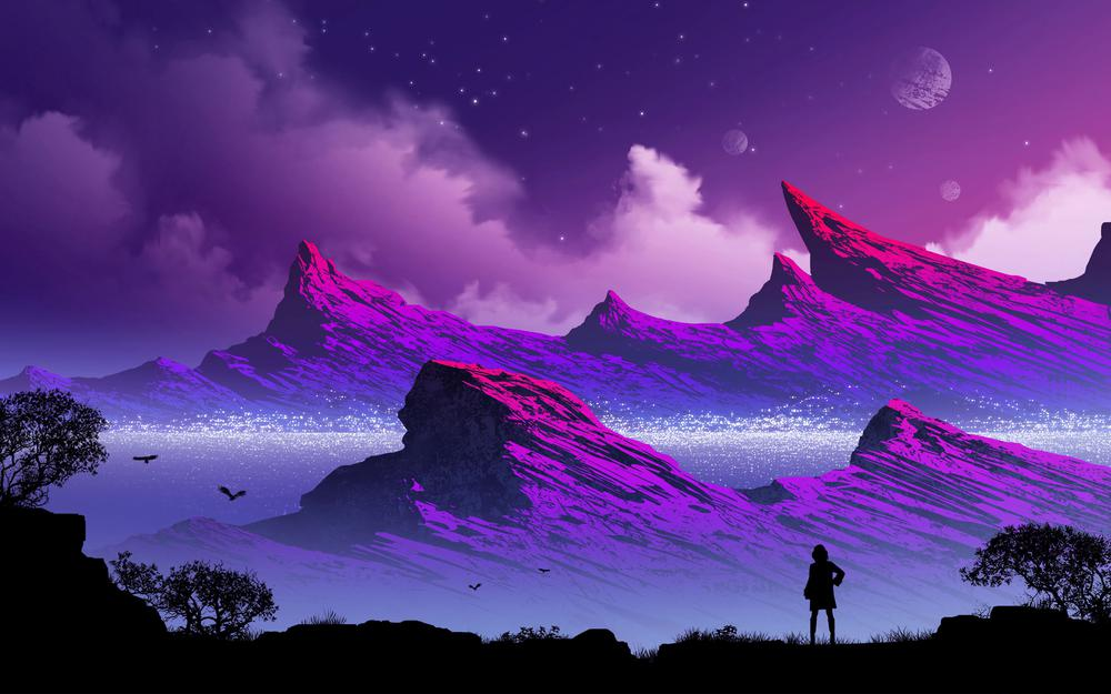 Clouds, fog, loneliness, mountains, art, silhouette wallpaper