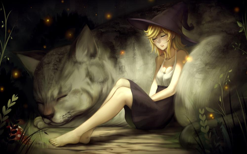 Night, firefly, girl, witch, cat, painting, beautiful wallpaper