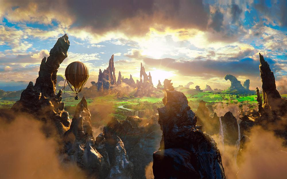 Fantasy, beauty, clouds, magic, oz the great and powerful, air baloon, rock,movie, story