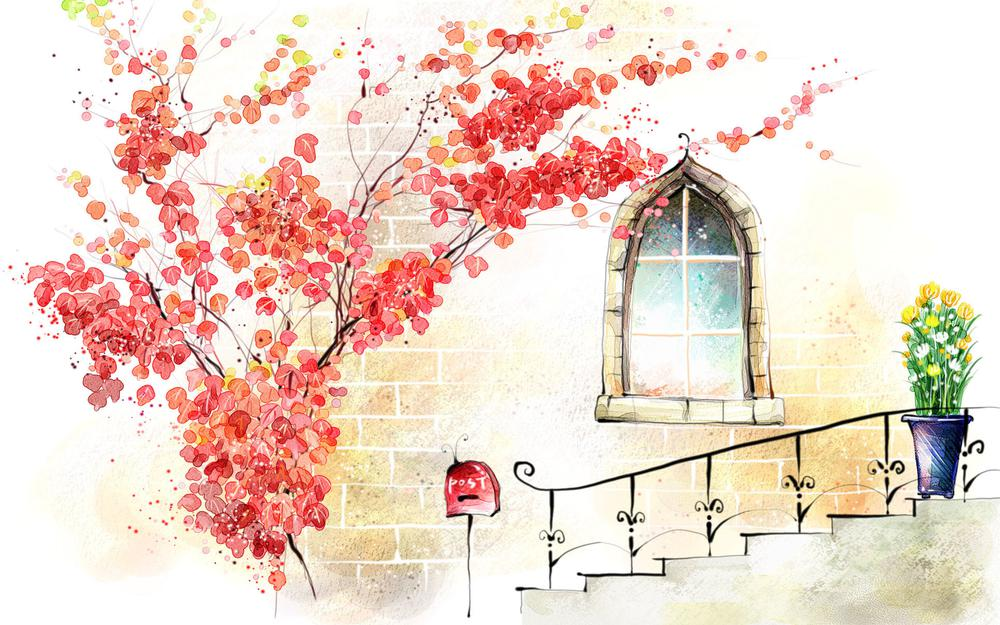 Window, staircase, flowers
