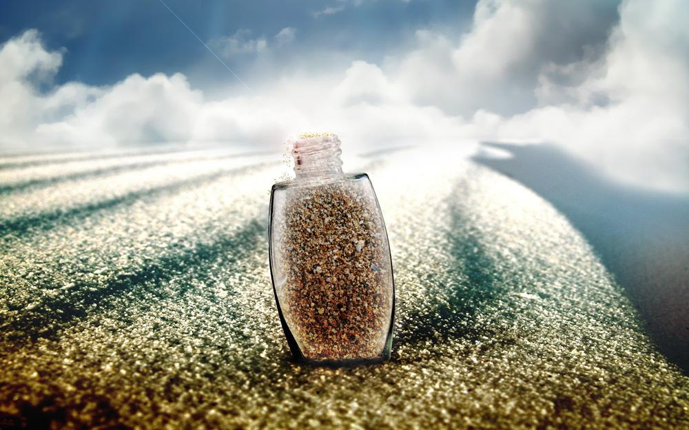 Sand, clouds, glass, bottle, beam