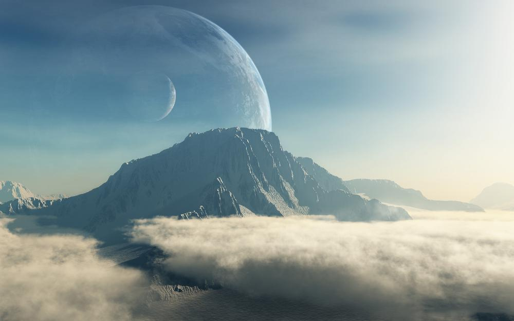 Terraspace, mountains, clouds, satellite, art, planets