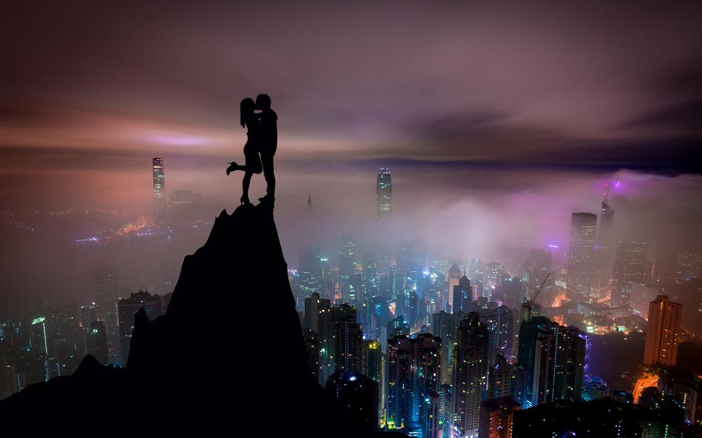 Kiss, city, silhouettes, couple, hill wallpaper