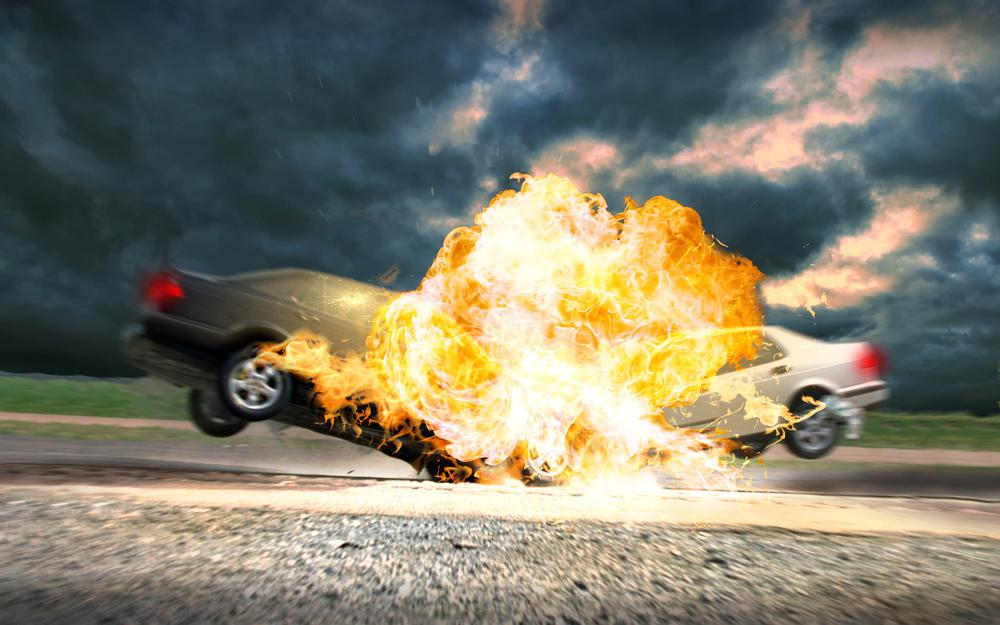 Explosion, cars, collision