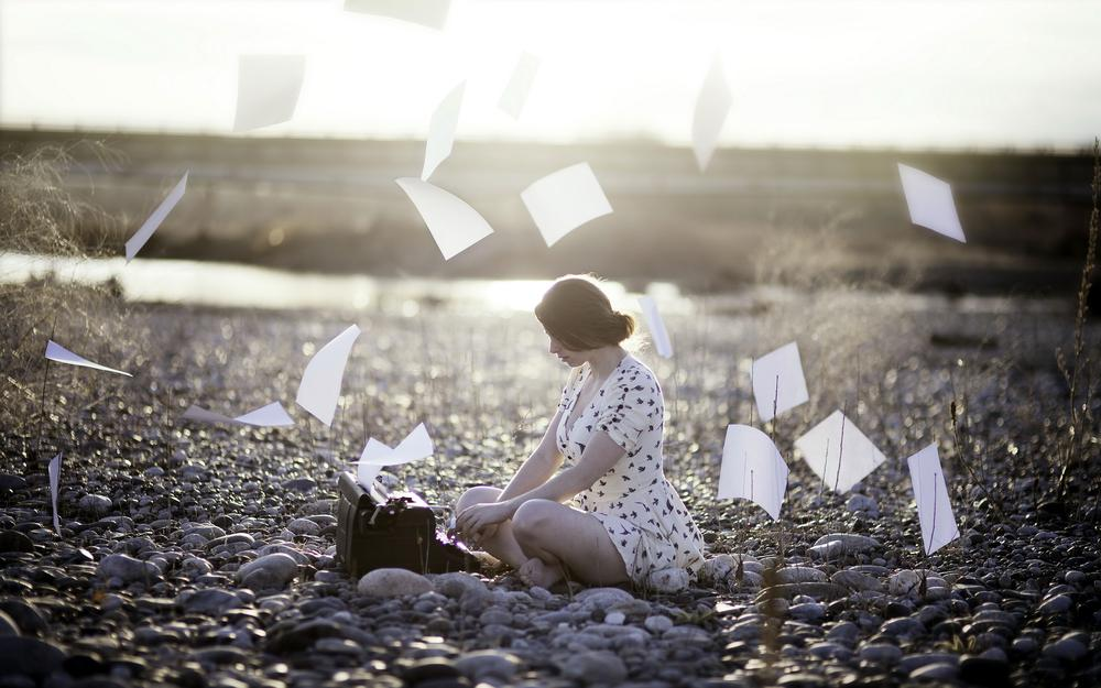 Paper, background, girl