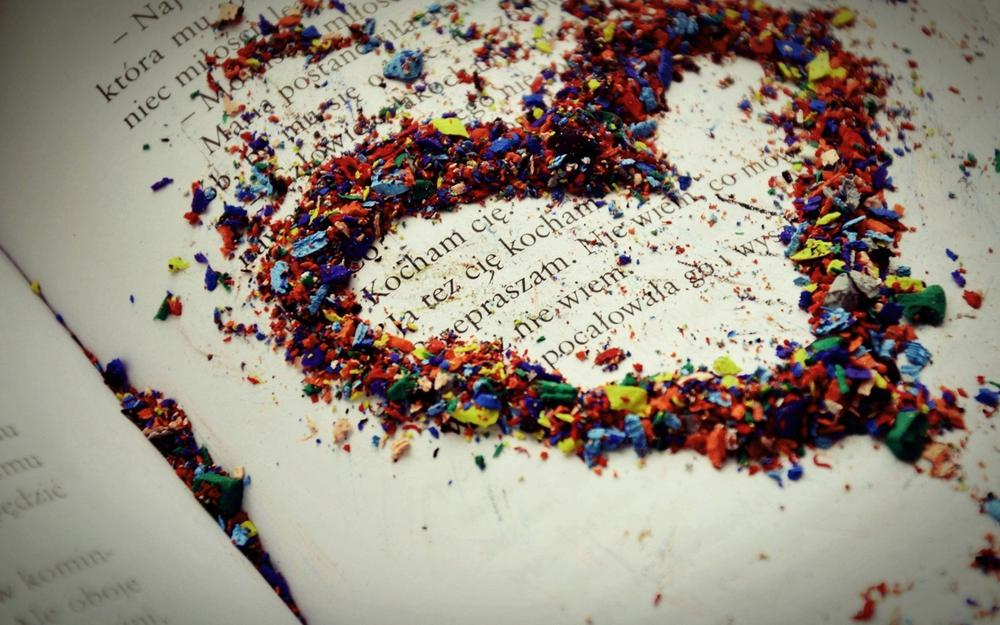 Colorful, heart, chips, book, love
