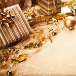 Ribbons, gold, gifts, boxes