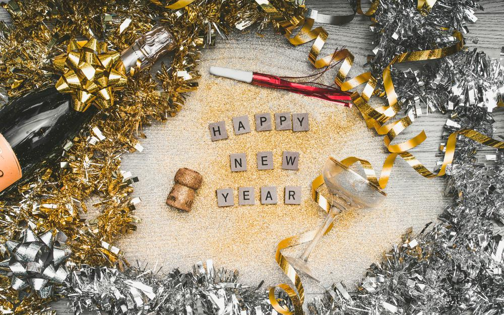 Sequins, letters, new year