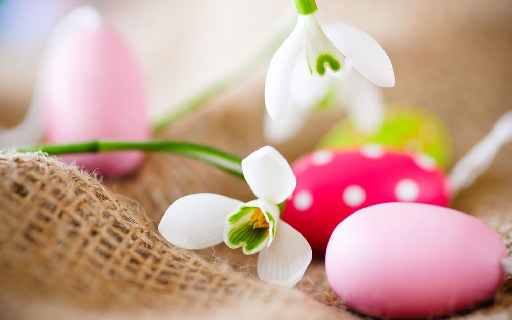 Flowers with painted eggs