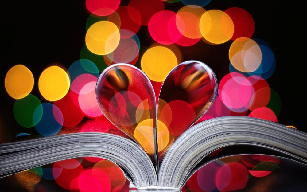Book, page, heart, paper