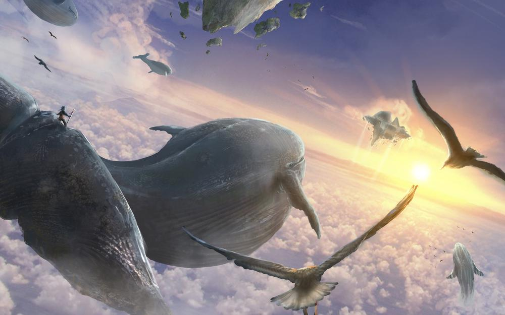 Sky, whales, fly, flying whales, clouds