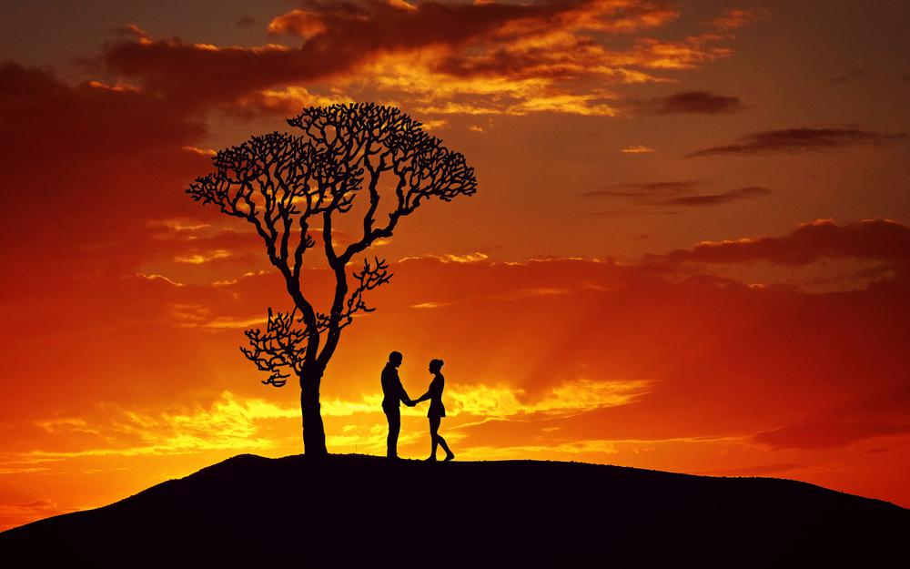 Silhouettes, couple, love, sunset