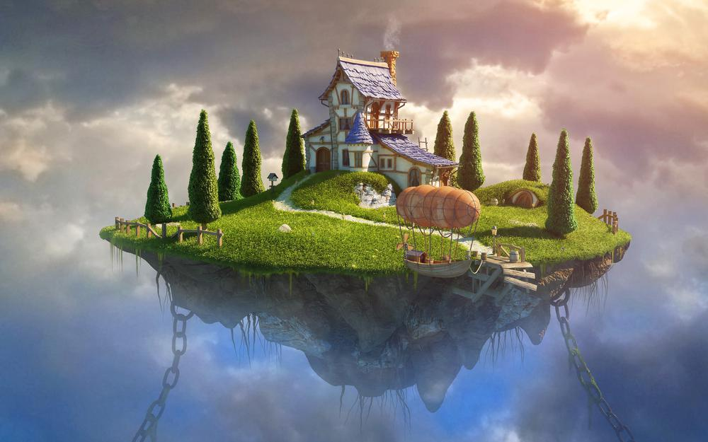 House, graphic, chains, clouds, grass, art, landscape, sky, boat, trees