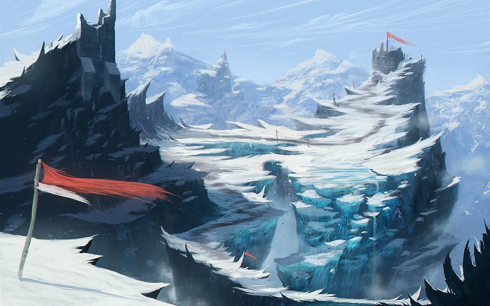 Break, flags, wind, mountains, cold, snow, art, fort, rocks