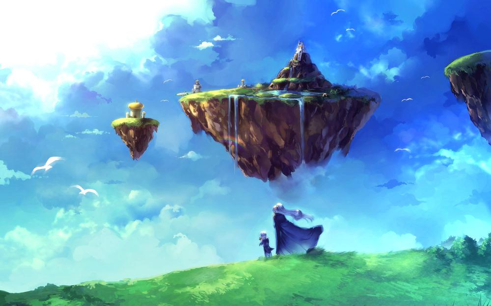 Chrono trigger, in the sky, city, cloak, flying, waterfall, birds, clouds, islands, girl, child