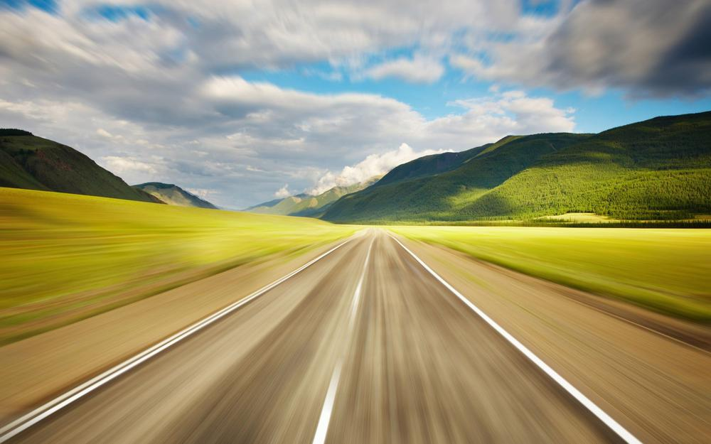 Wallpaper, grass, sky, road, photo, speed, clouds. the mountains