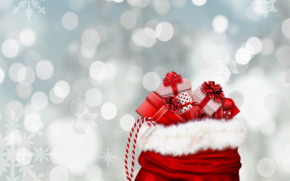 New year, christmas, snowflakes, gifts