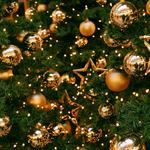 Stars, gold, new year, decorations, tree, balloons, christmas