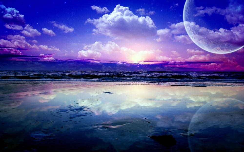 Landscape, planets, sea, waves, clouds, stars, reflection, sky