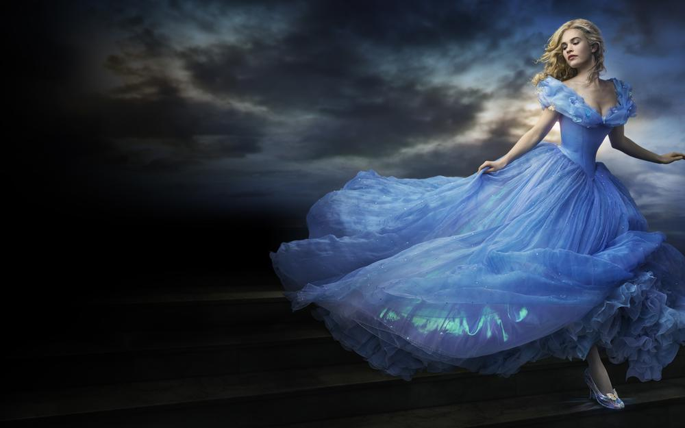 Cinderella, hd, family, 2015, beautiful, light, sky, lips, decollete, dlouds, cloudy, romance, eyes, woman, hair, lily james, girl, butterflies, lover, face, tits, full, film, adventure, drama , blue, sun, blonde, fantasy, movie, dress, walt disney pictures, tale