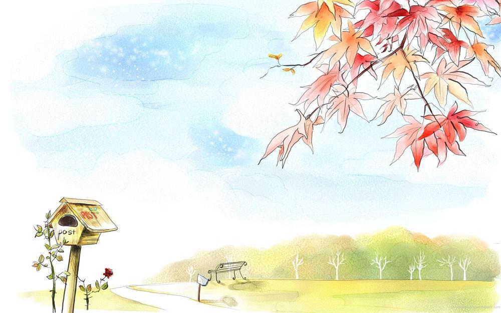 Leaves, trees, road, bench, red, nesting, drawing