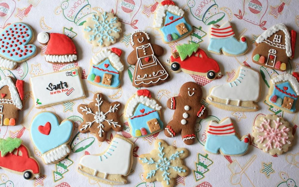 Cookies, new year, candy, snowflakes, christmas wallpaper