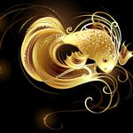 Abstraction, goldfish, sequins