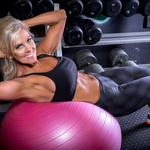 Abs, workout, training ball, smile