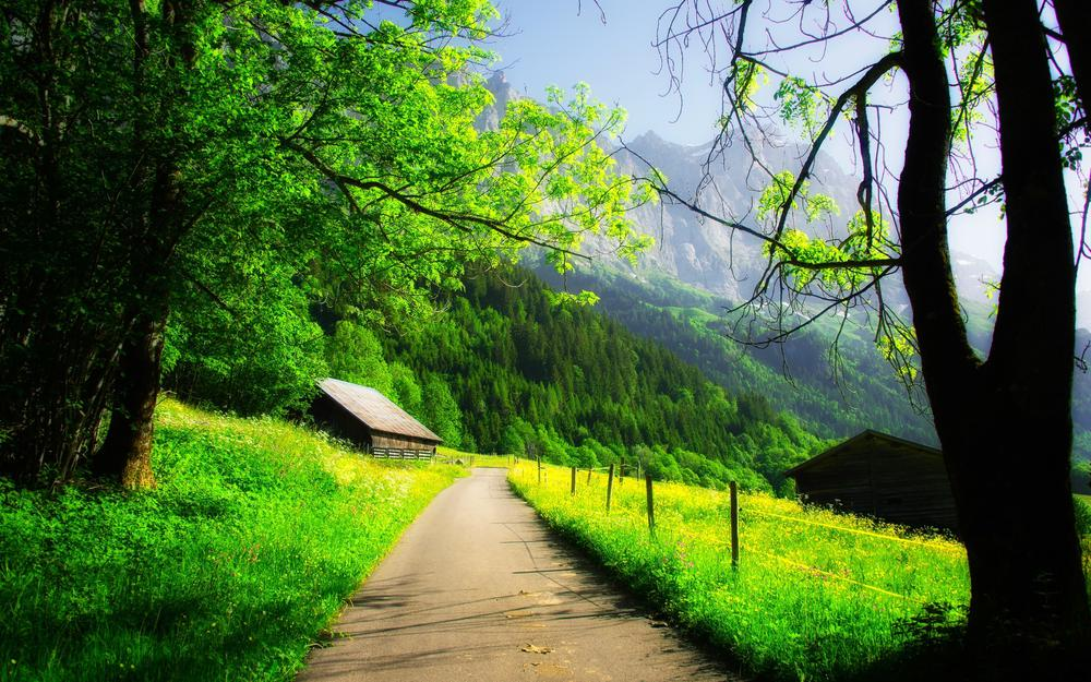 House, rock, mountains, clouds, mountain, forest, rock, road, trees, spring, nature, path, spring, road, house, forest, clouds, trees, sky, nature, walk, sky