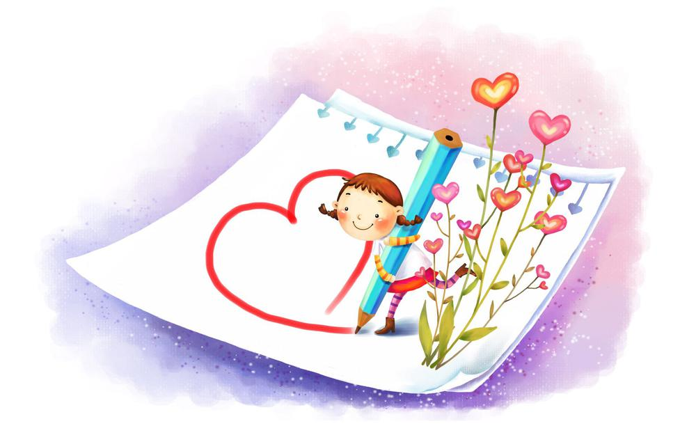 Hearts, positive, paper, boots, pencil, drawing, girl