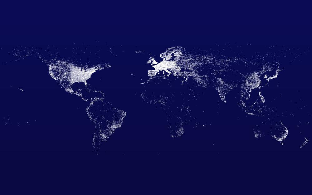 Map of lights on the planet