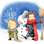 Buttons, drawing, bucket, scarves, winter, children, broom
