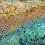 Canvas, oil, wheat field with cypresses, wheat fields, vincent van gogh